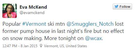 Smuggler's Notch fire last night